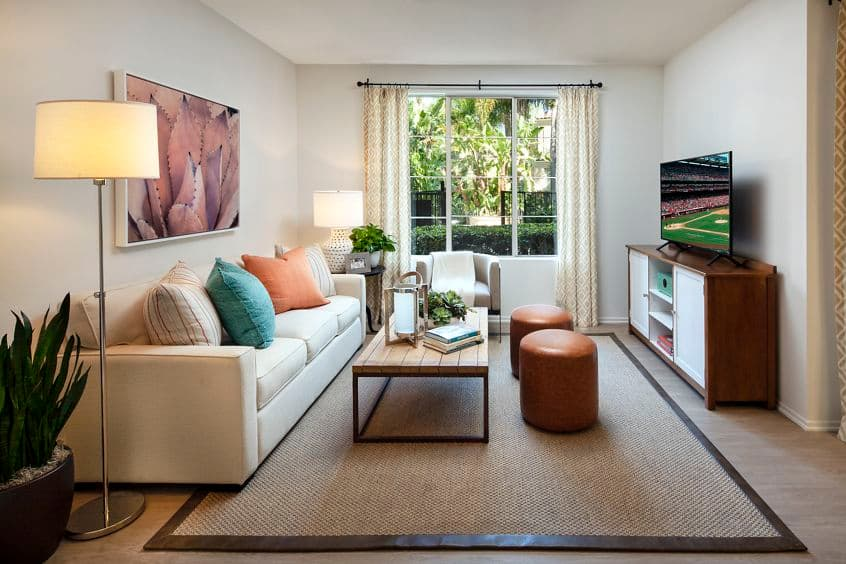 Interior view of living room of San Paulo Apartment Homes in Irvine, CA.