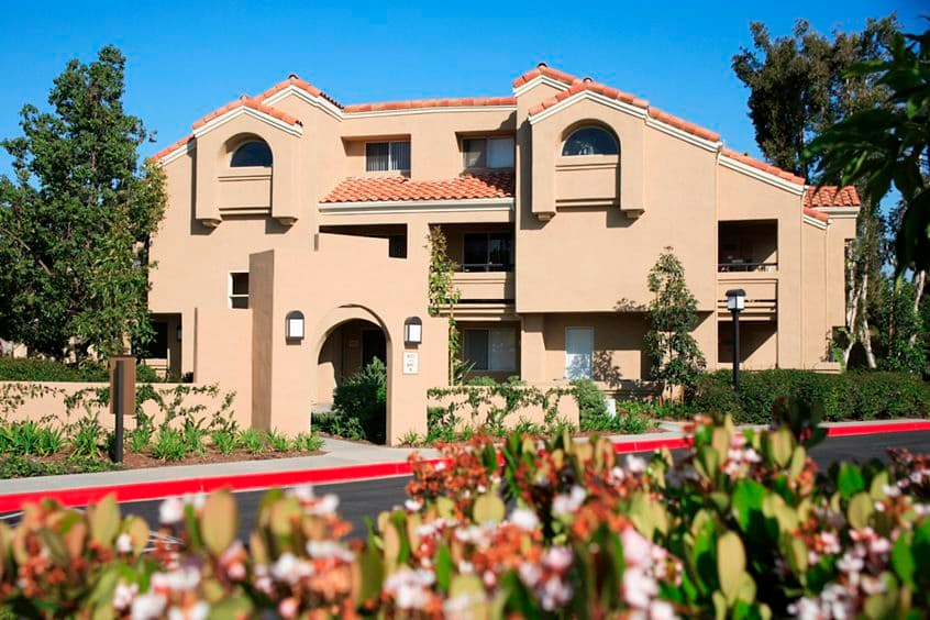 Exterior view of San Remo Villa Apartment Homes in Irvine, CA.