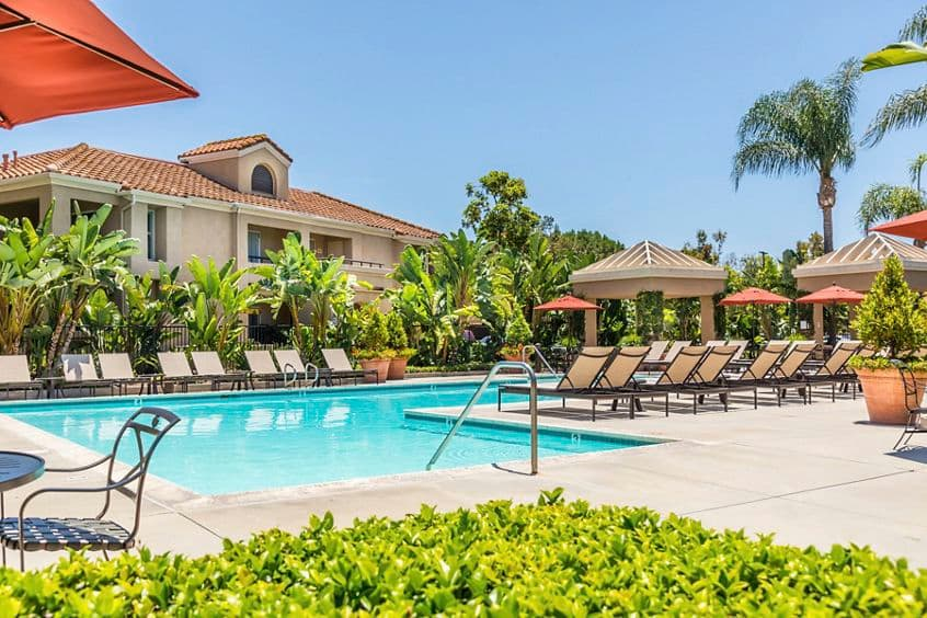 Pool view at San Remo Villa Apartment Homes in Irvine, CA.