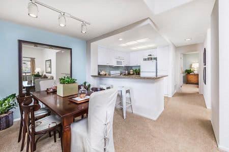 Interior view of kitchen at San Remo Villa Apartment Homes in Irvine, CA.