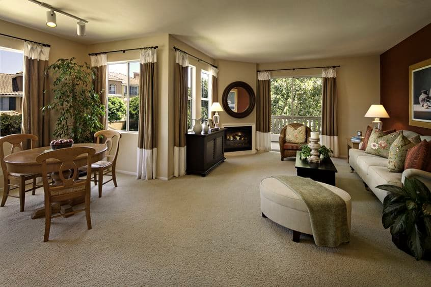Interior view of living room at Santa Clara Apartment Homes in Irvine, CA.