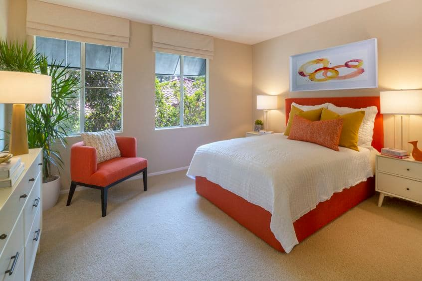 Interior view of bedroom at Santa Clara Apartment Homes in Irvine, CA.