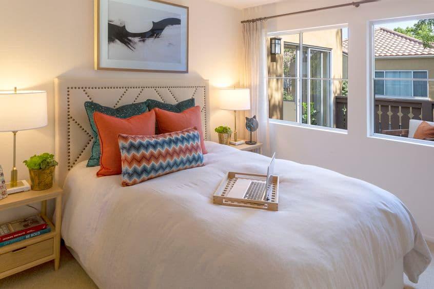 Interior view of bedroom at Santa Maria Apartment Homes in Irvine, CA.