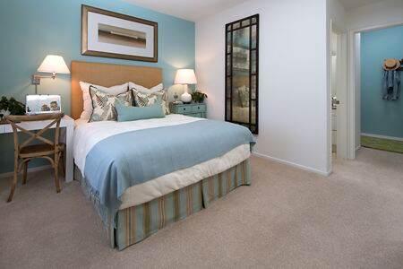 Interior view of bedroom at Santa Rosa Apartment Homes in Irvine, CA.