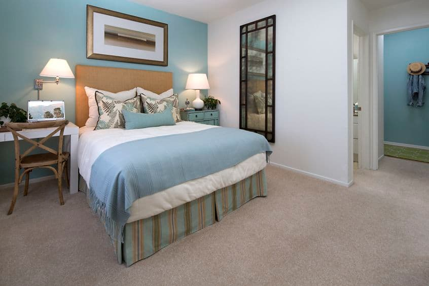 Interior view of bedroom at Santa Rosa Apartment Homes in Irvine, CA.