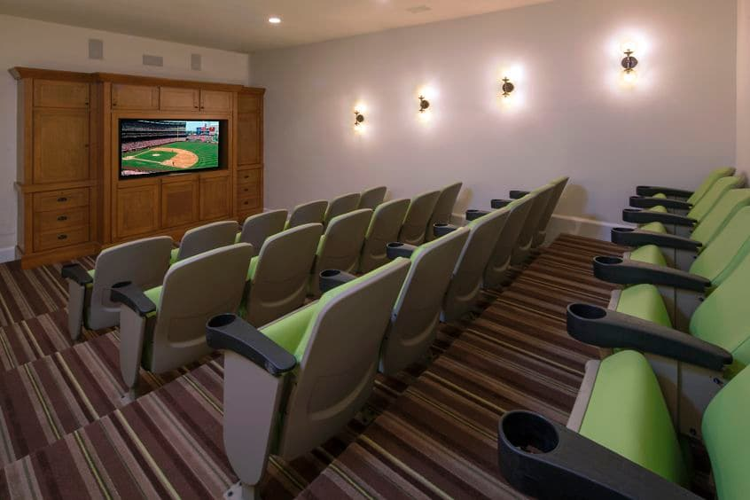Interior view of clubhouse theater at Santa Rosa Apartment Homes in Irvine, CA.