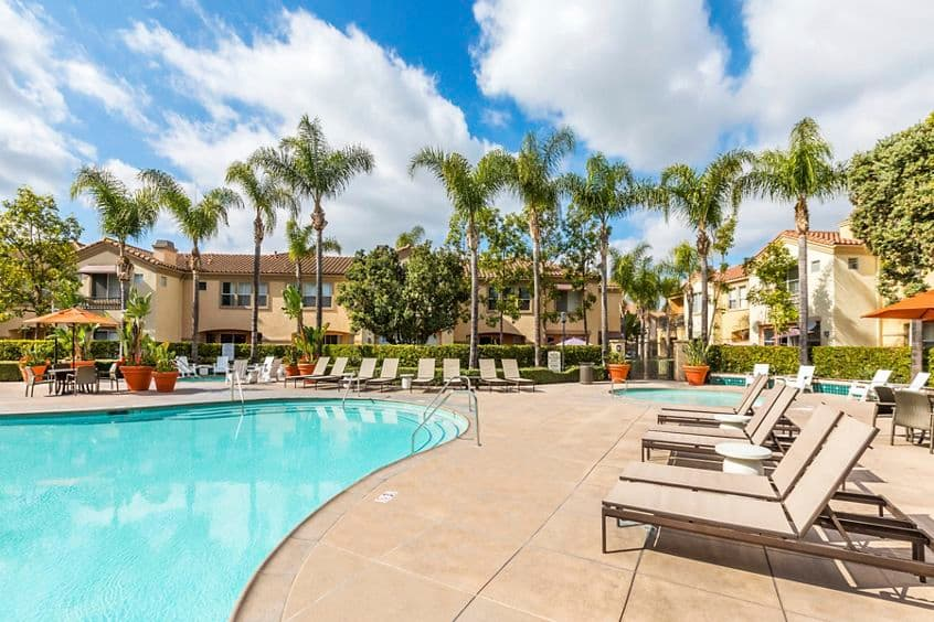 Exterior view of the pool at Santa Rosa Apartment Homes in Irvine, CA.