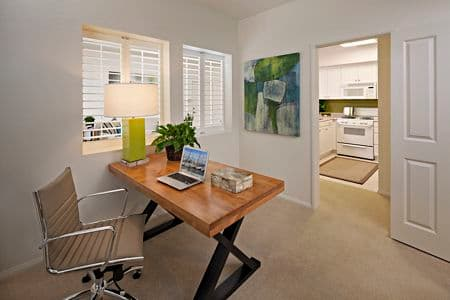 Interior view of home office at Serrano Apartment Homes in Irvine, CA.