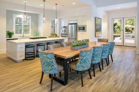 Interior view of clubhouse at Serrano Apartment Homes in Irvine, CA.