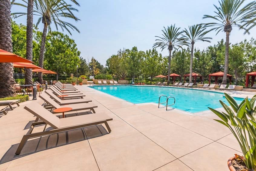 Exterior view of Pool at Shadow Oaks Apartment Homes in Irvine, CA.