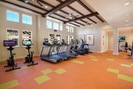 Interior view of fitness center at Solana Apartment Homes in Irvine, CA.