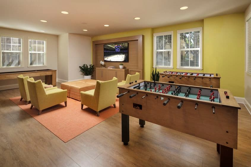 Interior view of game room at Solana Apartment Homes in Irvine, CA.