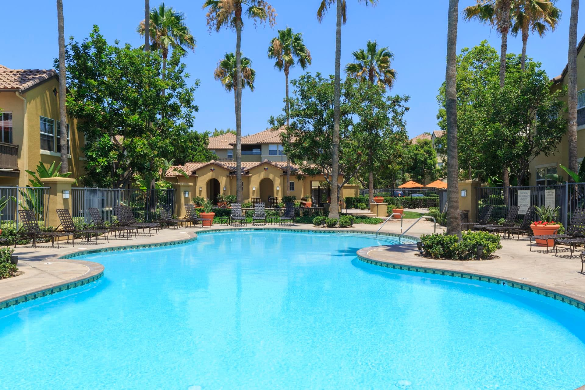 Pool view at Solana Apartment Homes in Irvine, CA.