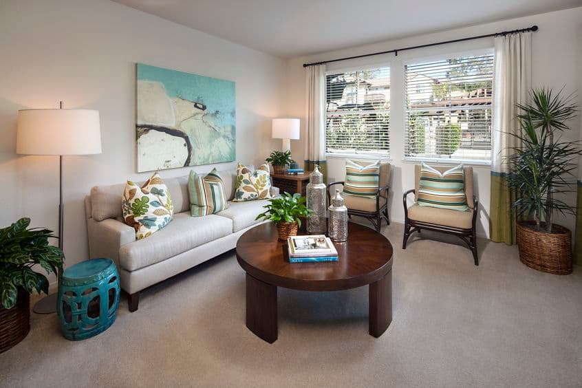 Interior view of living room at Solana Apartment Homes in Irvine, CA.