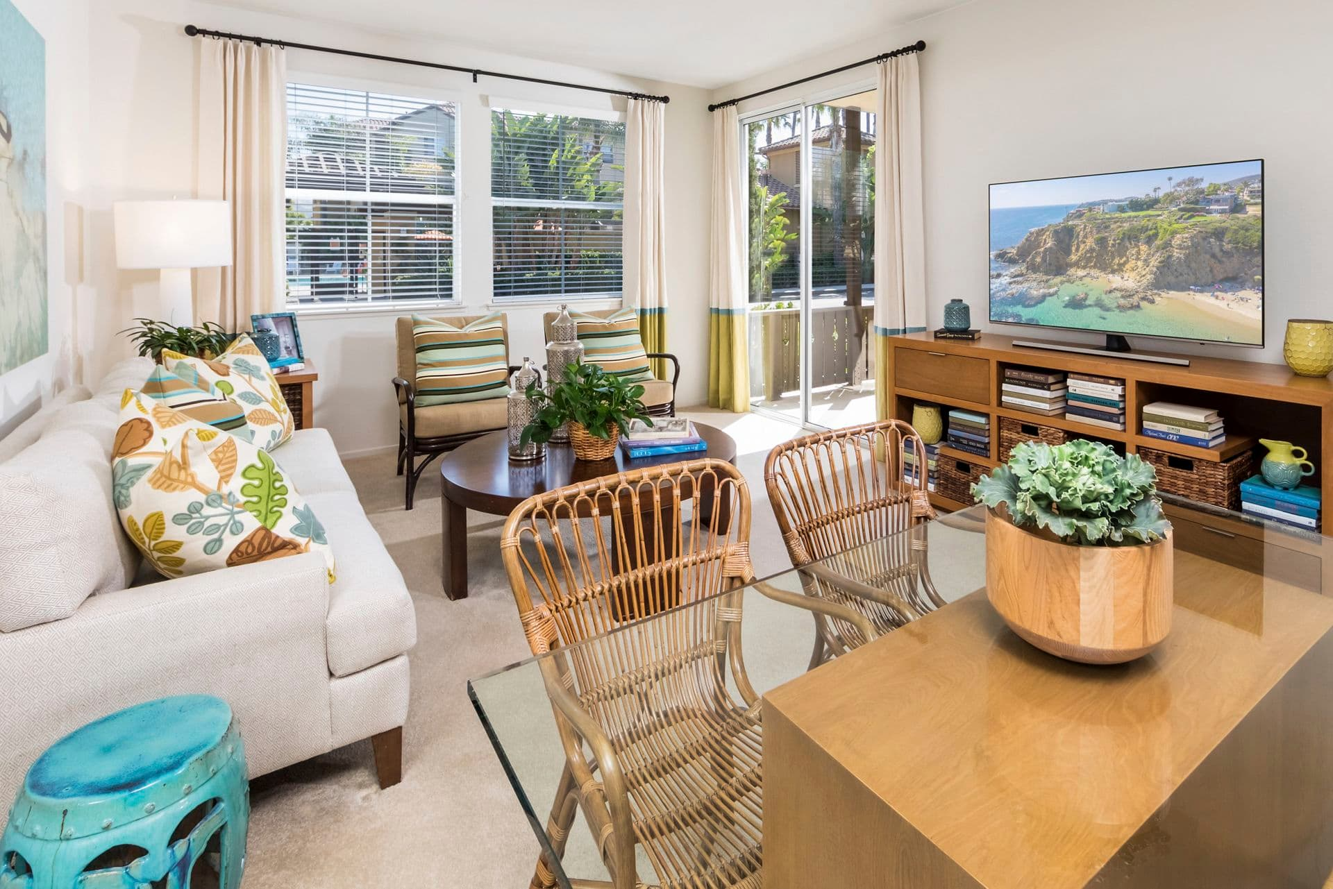 Interior view of living room and dining room at Solana Apartment Homes in Irvine, CA.