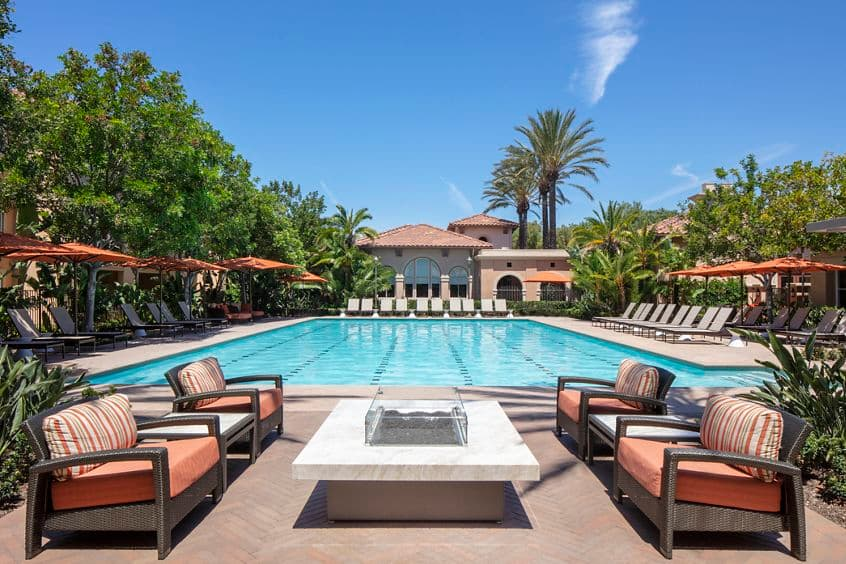Pool view at Somerset Apartment Homes in Irvine, CA.