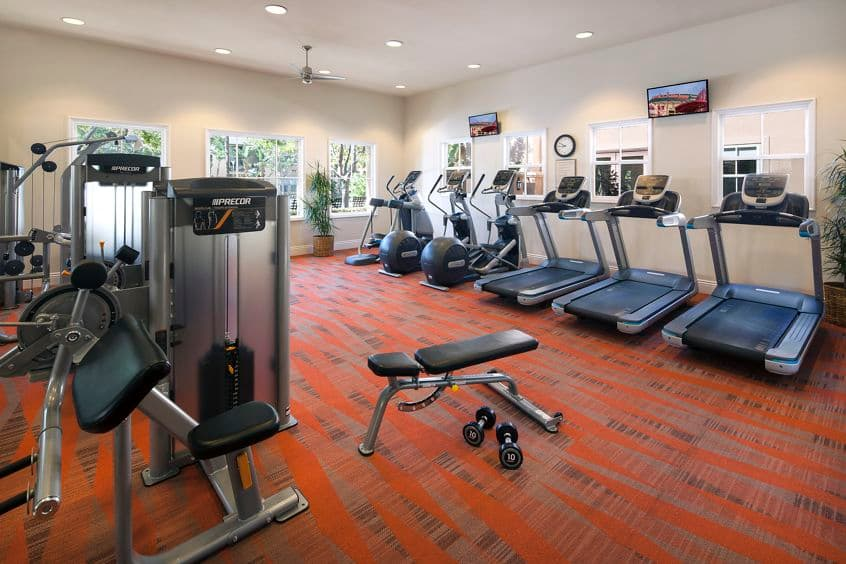 Interior view of fitness center at Somerset Apartment Homes in Irvine, CA.