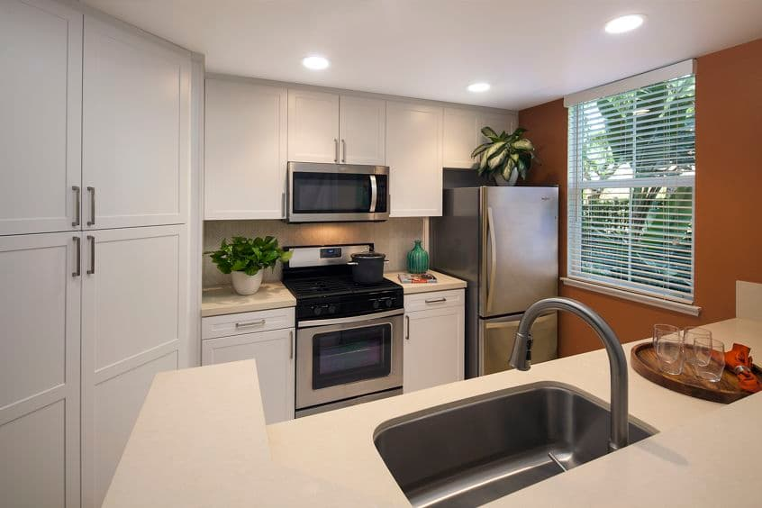 Interior view of kitchen at Somerset Apartment Homes in Irvine, CA.