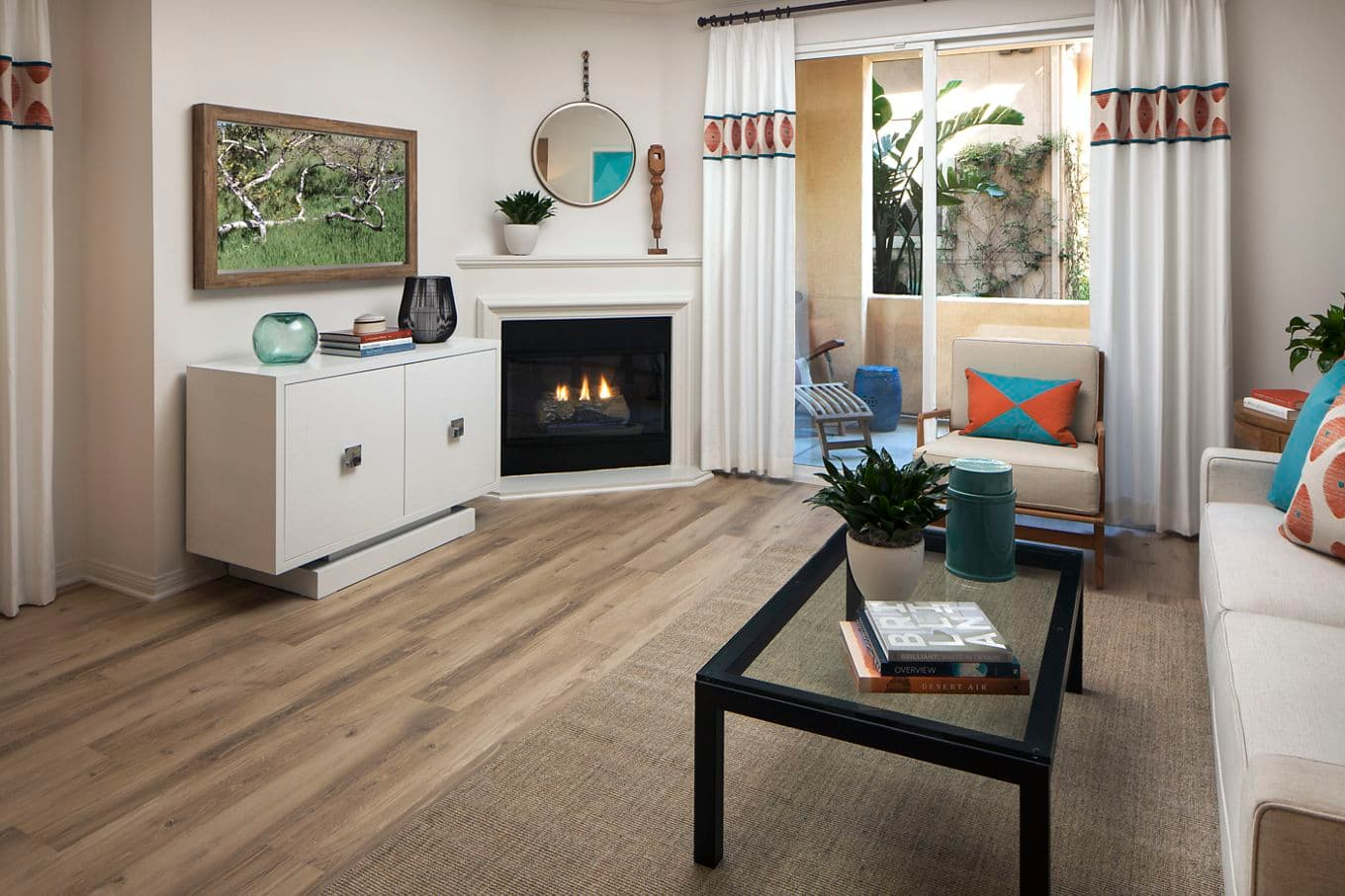 Interior view of living room at Somerset Apartment Homes in Irvine, CA.