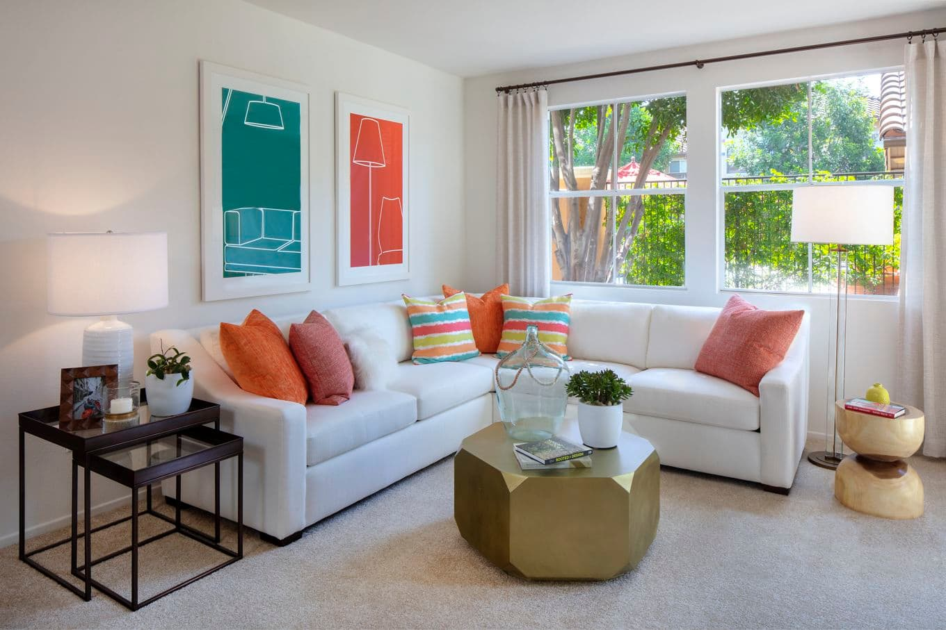 Interior view of living room at Sonoma Apartment Homes at Oak Creek in Irvine, CA.