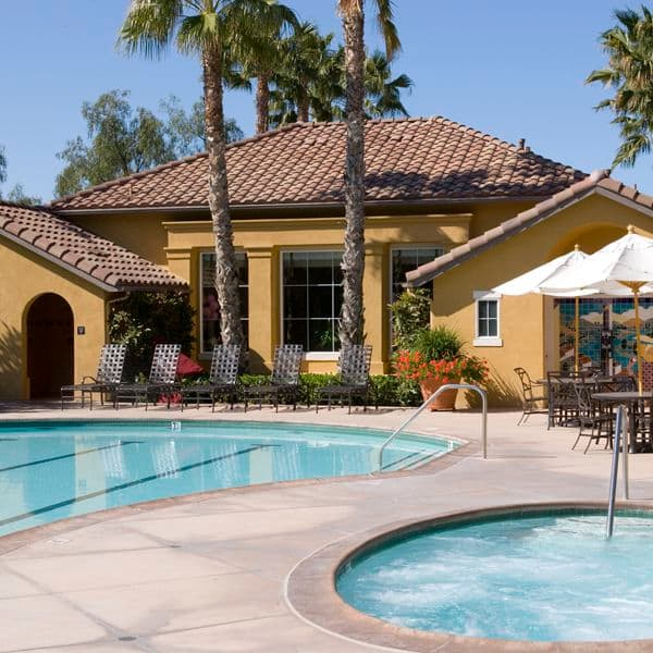 Exterior view of pool and spa at Sonoma Apartment Homes at Oak Creek in Irvine, CA.