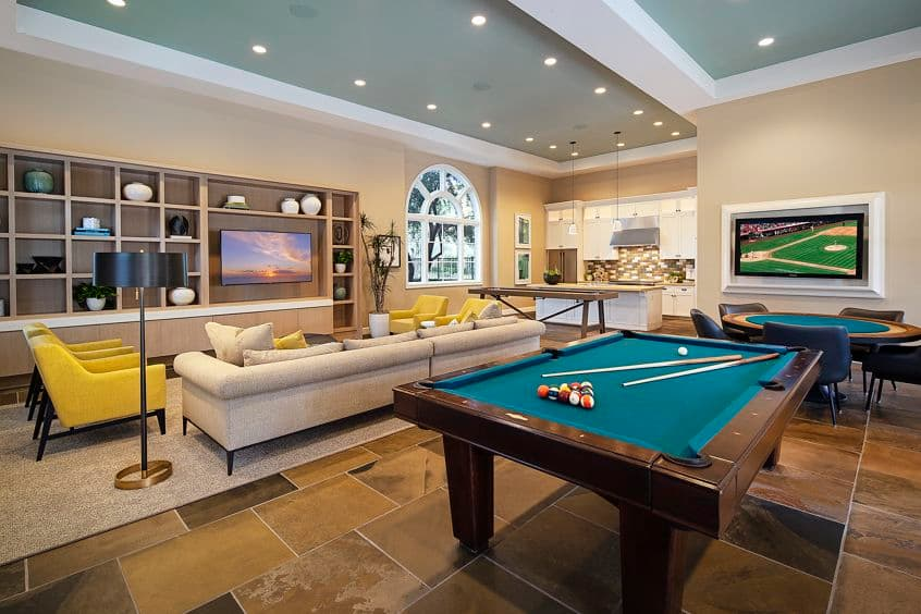 Interior view of clubhouse at Palmeras Apartment Homes in Stonegate, Irvine, CA.