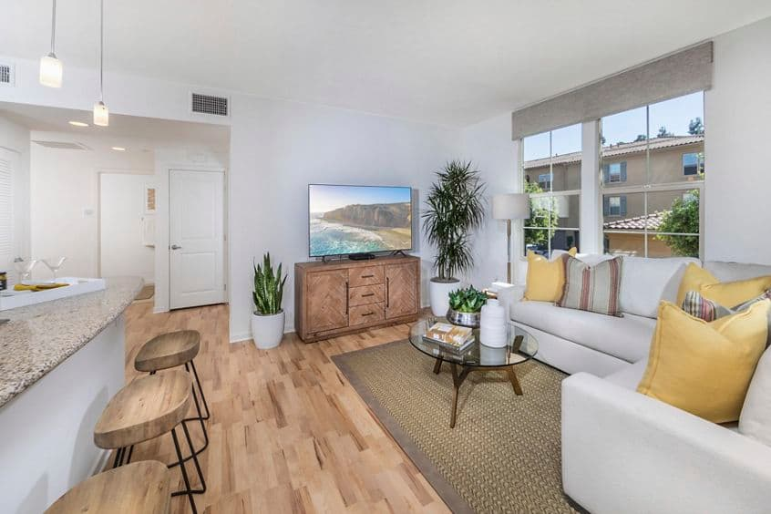 Interior view of  living room Palmeras Apartment Home in Irvine, CA.