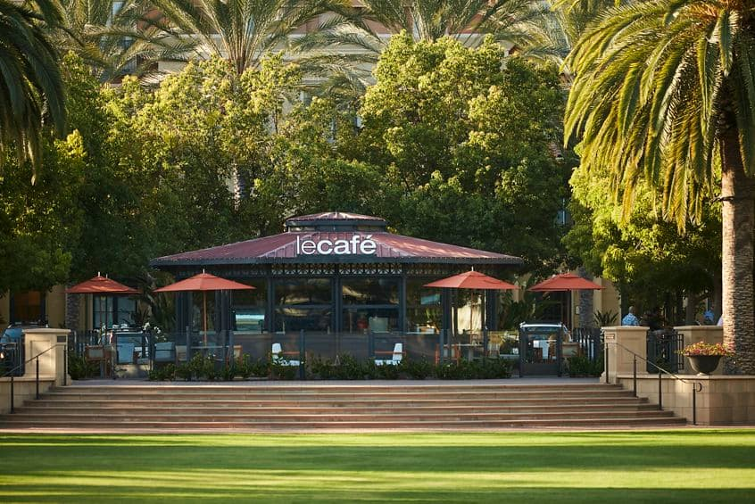 Exterior view of Le Cafe at The Park at Irvine Spectrum Apartment Homes in Irvine, CA.