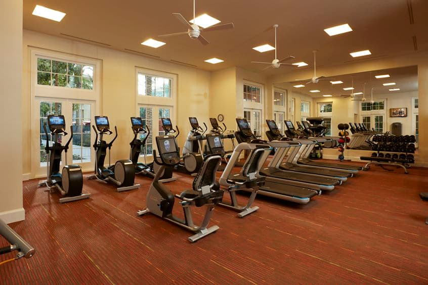 Interior view of Fitness Center at The Park at Irvine Spectrum Apartment Homes in Irvine, CA.