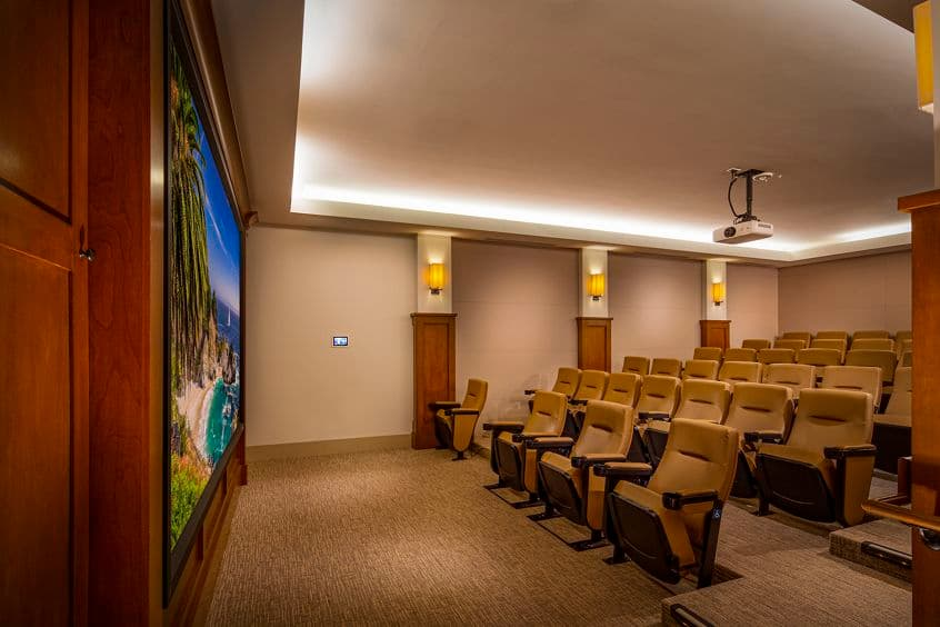 Interior view of Theater at Cambria at The Village at Irvine Spectrum Apartment Homes in Irvine, CA.