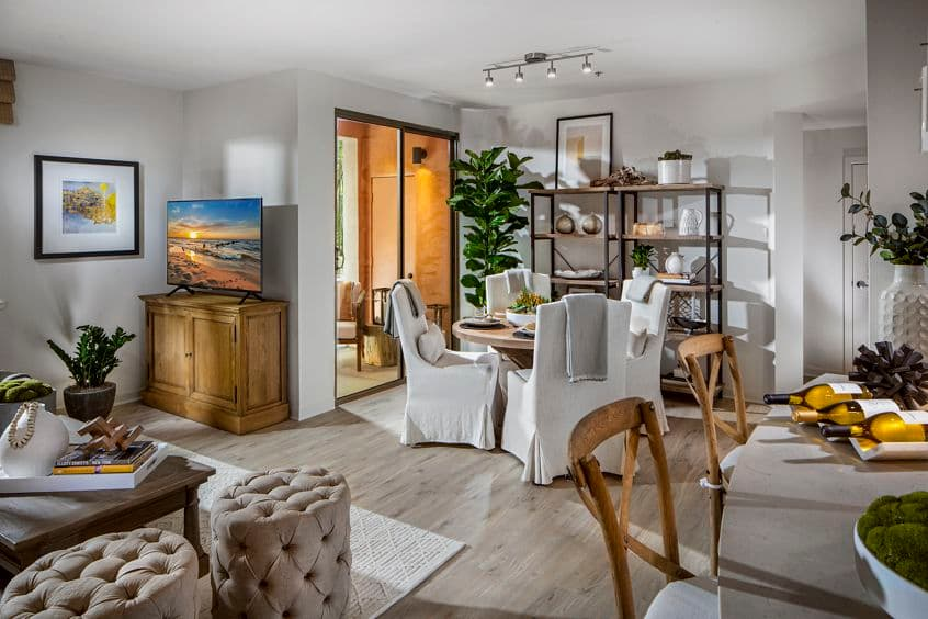 Interior view of dining room at Delrey at The Village at Irvine Spectrum Apartment Homes in Irvine, CA.
