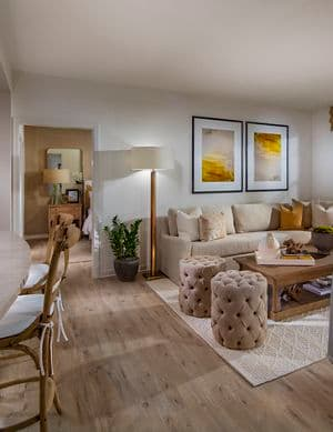 Interior view of living room at Delrey at The Village at Irvine Spectrum Apartment Homes in Irvine, CA.