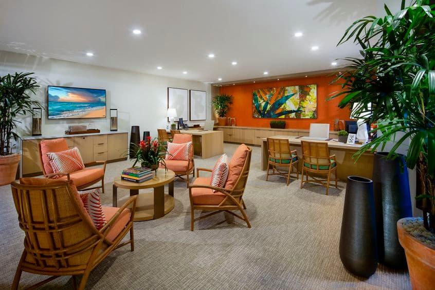 Interior view of concierge at Delrey at The Village at Irvine Spectrum Apartment Homes in Irvine, CA.