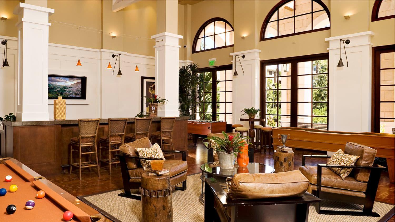 Interior views of clubhouse at The Village Delrey at Irvine Spectrum Apartment Homes in Irvine, CA.