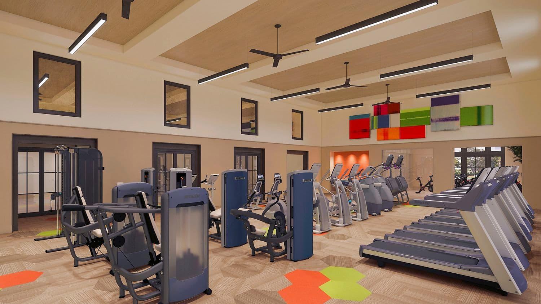 Interior rendering of fitness center at Delrey at The Village at Irvine Spectrum Apartment Homes in Irvine, CA.
