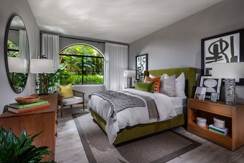 Interior view of bedroom at at Serena at The Village at Irvine Spectrum Apartment Homes in Irvine, CA.