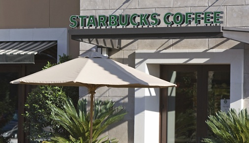Exterior views of Starbucks at The Village Serena at Irvine Spectrum Apartment Homes in Irvine, CA.