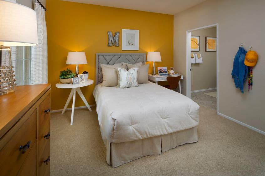 Interior view of bedroom at Turtle Rock Canyon Apartment Homes in Irvine, CA.