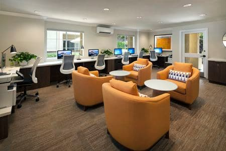 Interior view of business center at Turtle Rock Canyon Apartment Homes in Irvine, CA.