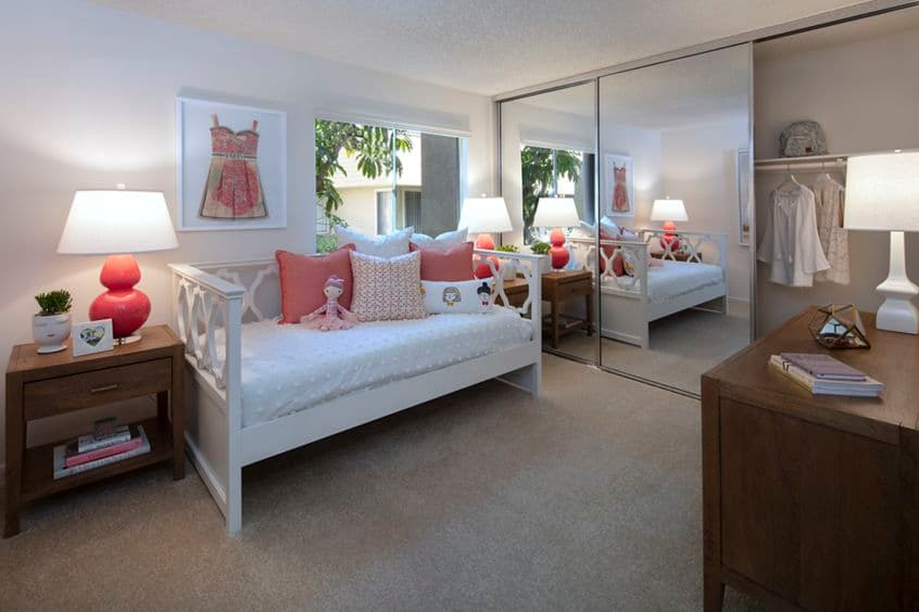 Interior view of bedroom at Turtle Rock Vista Apartment Homes in Irvine, CA.