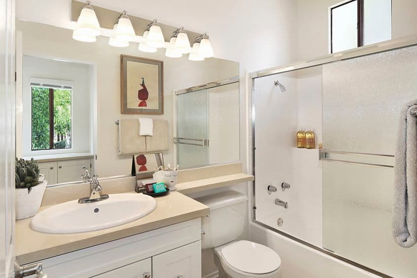 View of bathroom at Ambrose Apartment Homes at University Town Center in Irvine, CA.