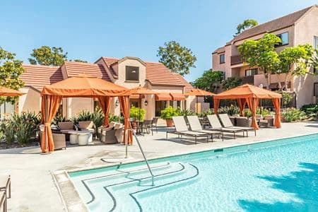 Pool view at Berkeley Court Apartment Homes at University Town Center in Irvine, CA.