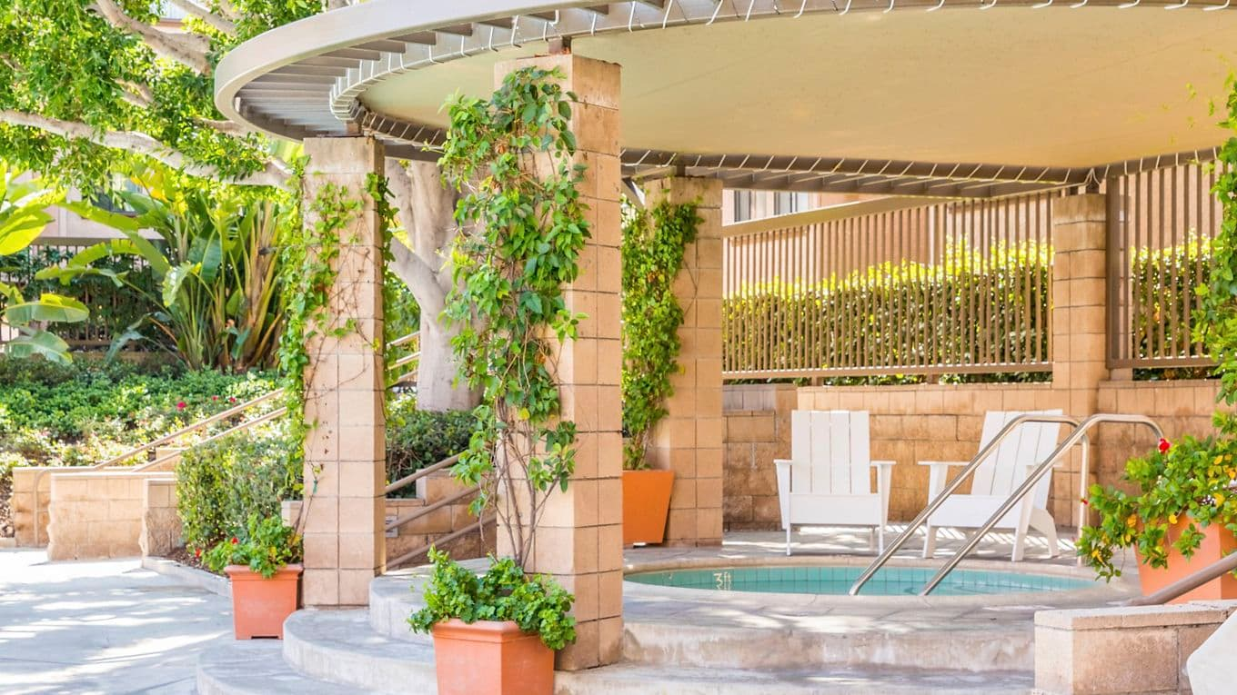 Spa view at Berkeley Court Apartment Homes at University Town Center in Irvine, CA.