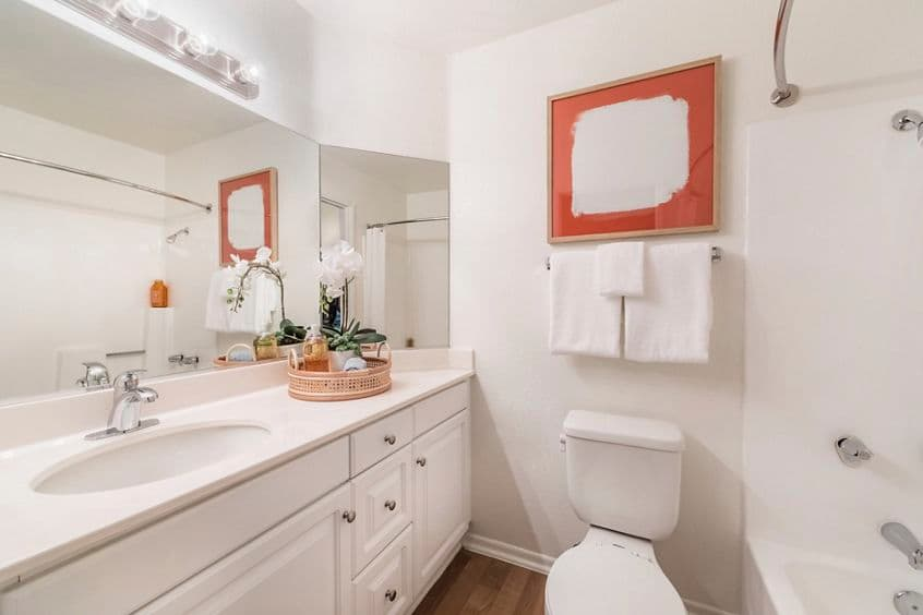 Interior view of bathroom at Dartmouth Court Apartment Homes at Town Center in Irvine, CA.