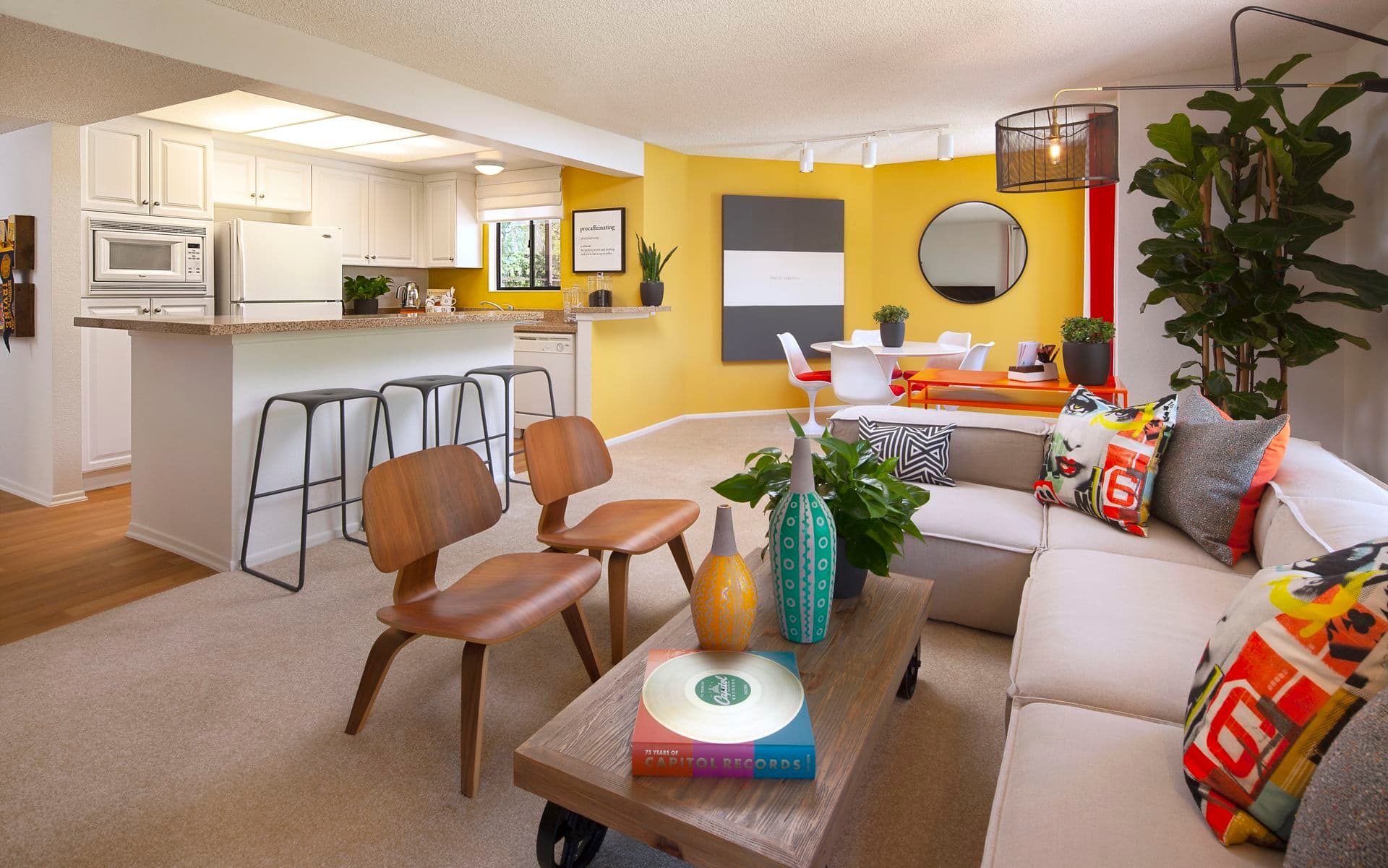Interior view of living area Dartmouth Court Apartment Homes at University Town Center in Irvine, CA.