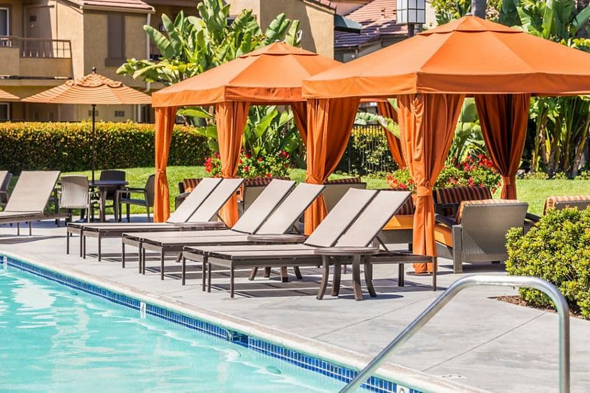 Pool view at Stanford Court Apartment Homes at University Town Center in Irvine, CA.