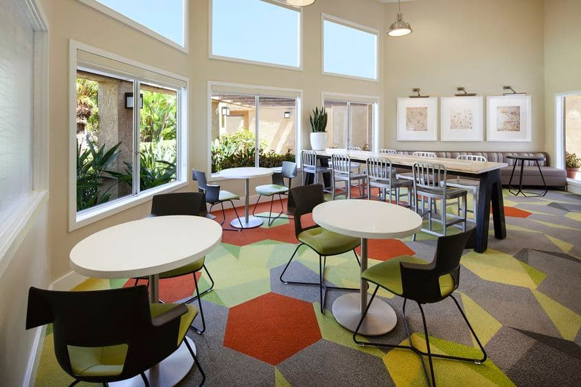 Interior view of business center at Stanford Court Apartment Homes at University Town Center in Irvine, CA.