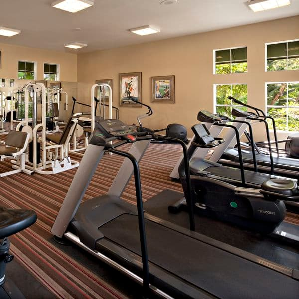 Interior view of fitness center at Villa Coronado Apartment Homes in Irvine, CA.