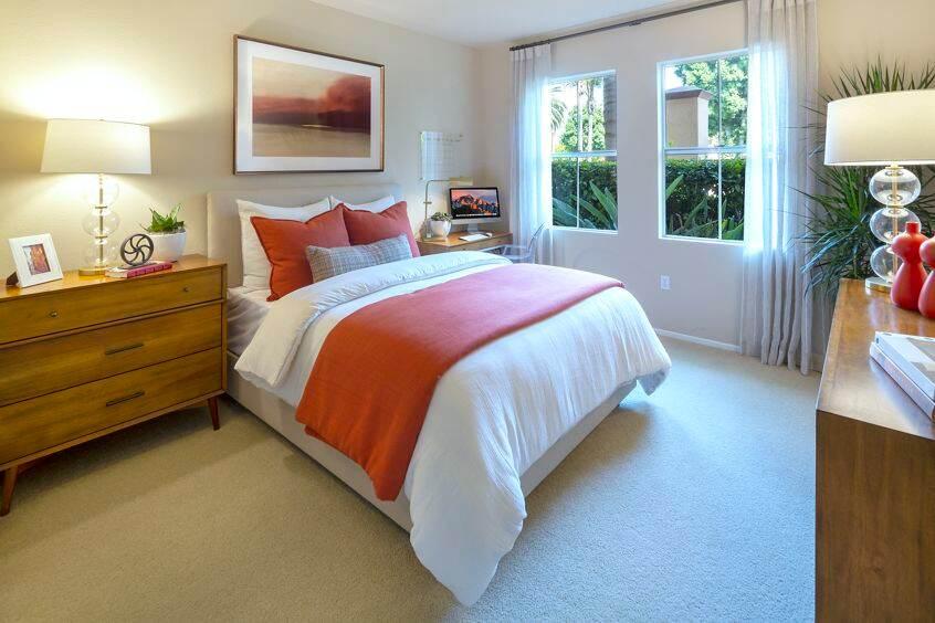 Interior view of bedroom at Villa Coronado Apartment Homes in Irvine, CA.