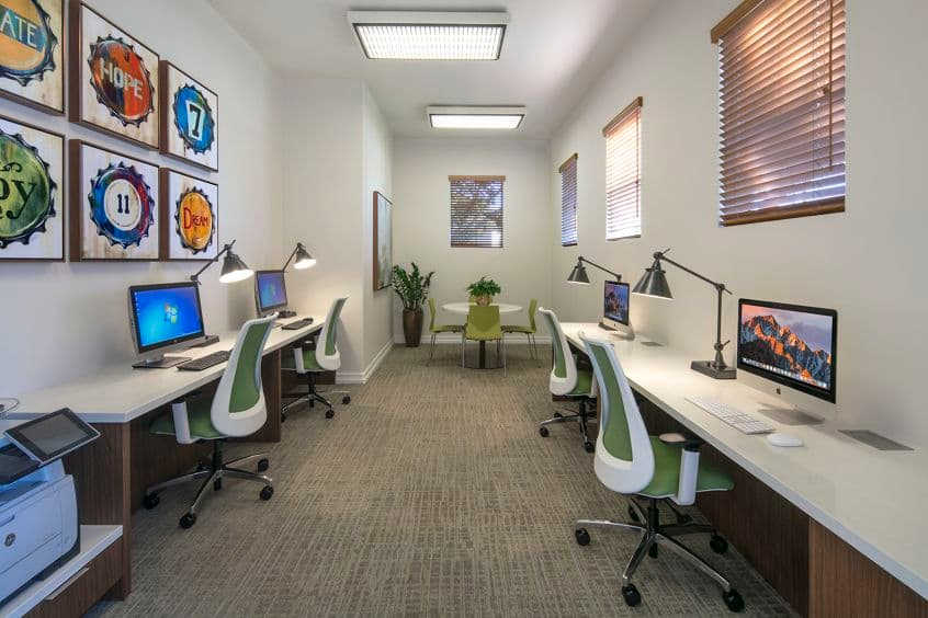 Interior view of business center at Villa Coronado Apartment Homes in Irvine, CA.